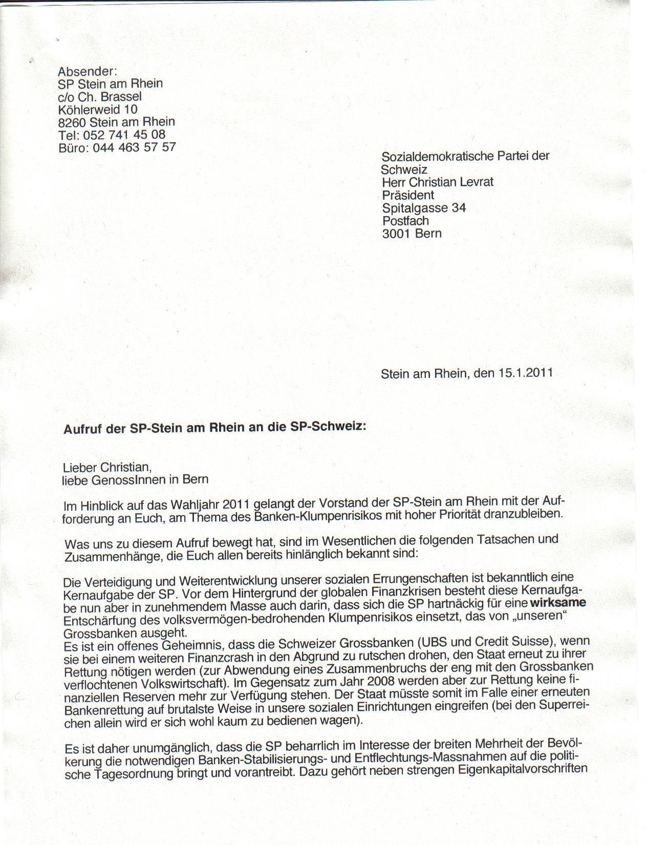 Brief An Die Sp Geschäftsleitung 1
